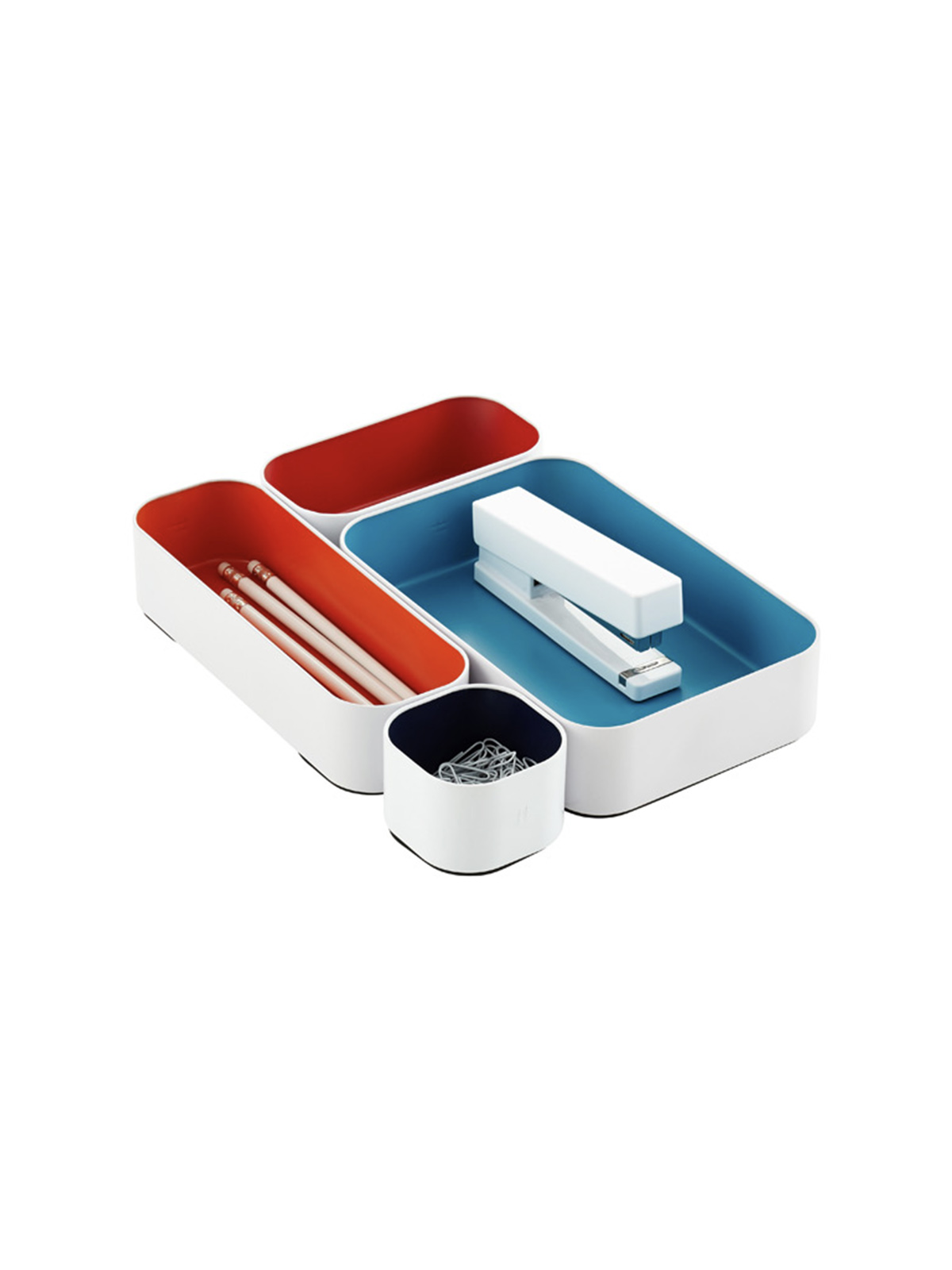 Best Desk Drawer Organizer in blue and red