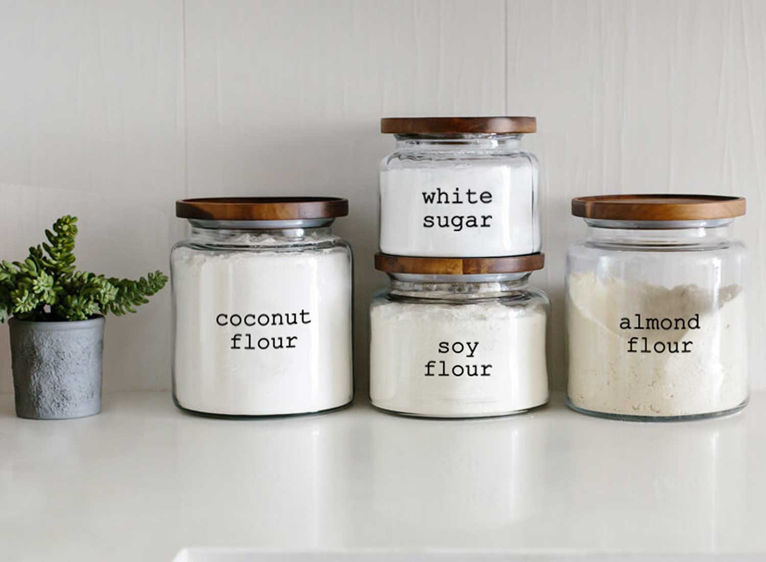 Kitchen Organization Custom Labels on glass food canisters on counter