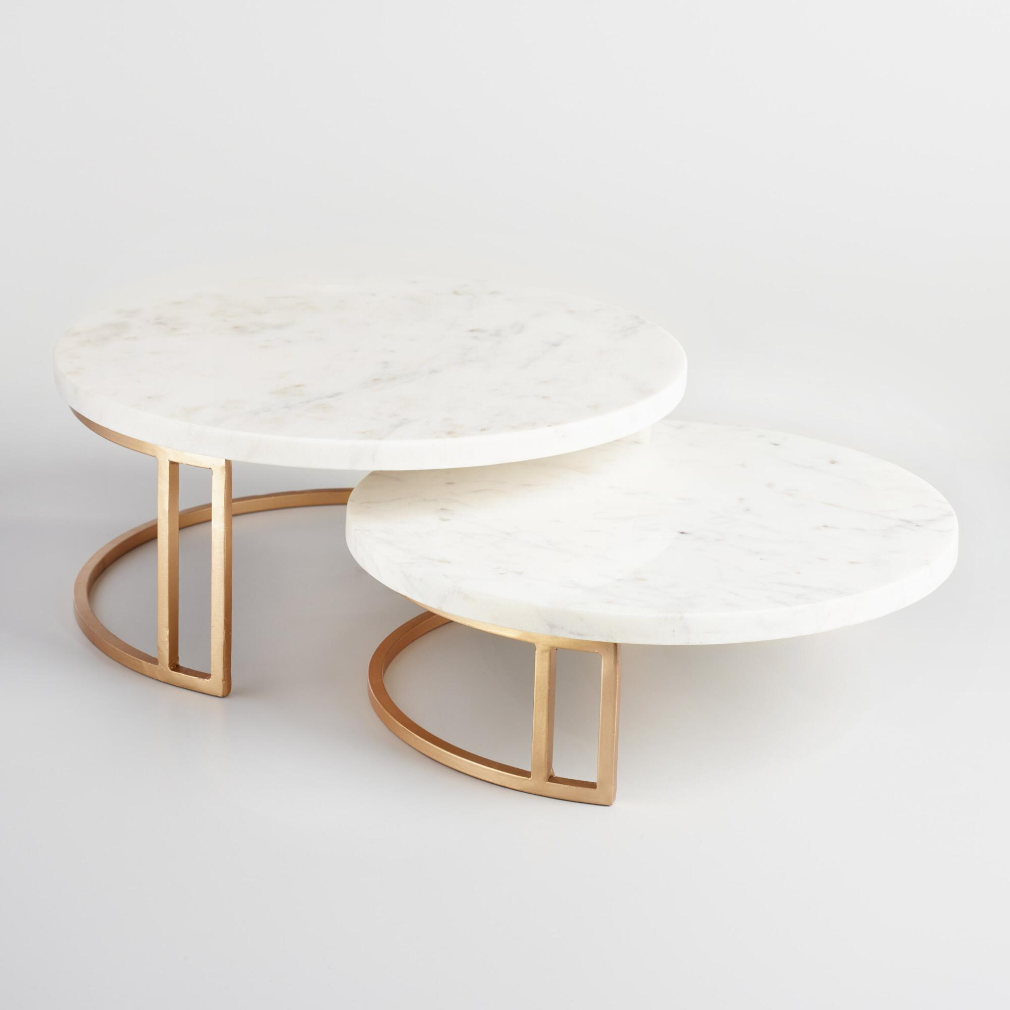 Marble and brass nesting cake stands