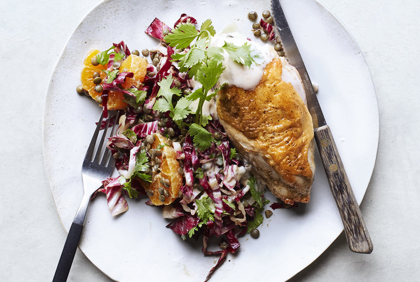 Spiced Chicken Breasts With Lentil and Radicchio Salad