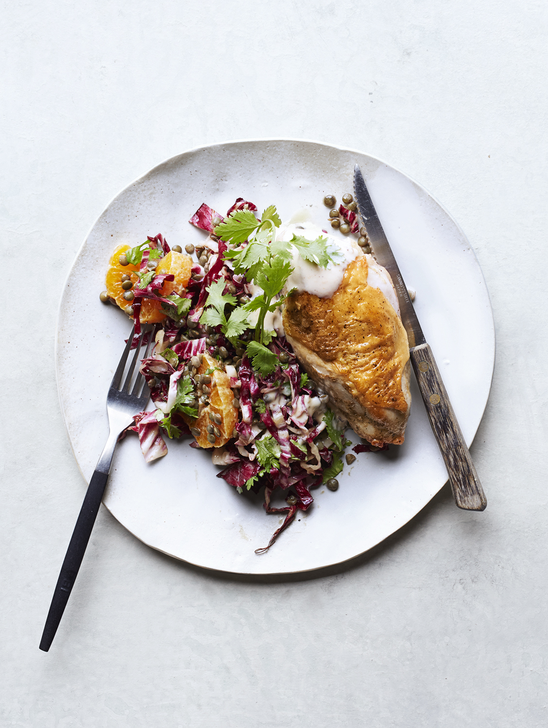 chicken-breasts-lentil-radicchio-salad