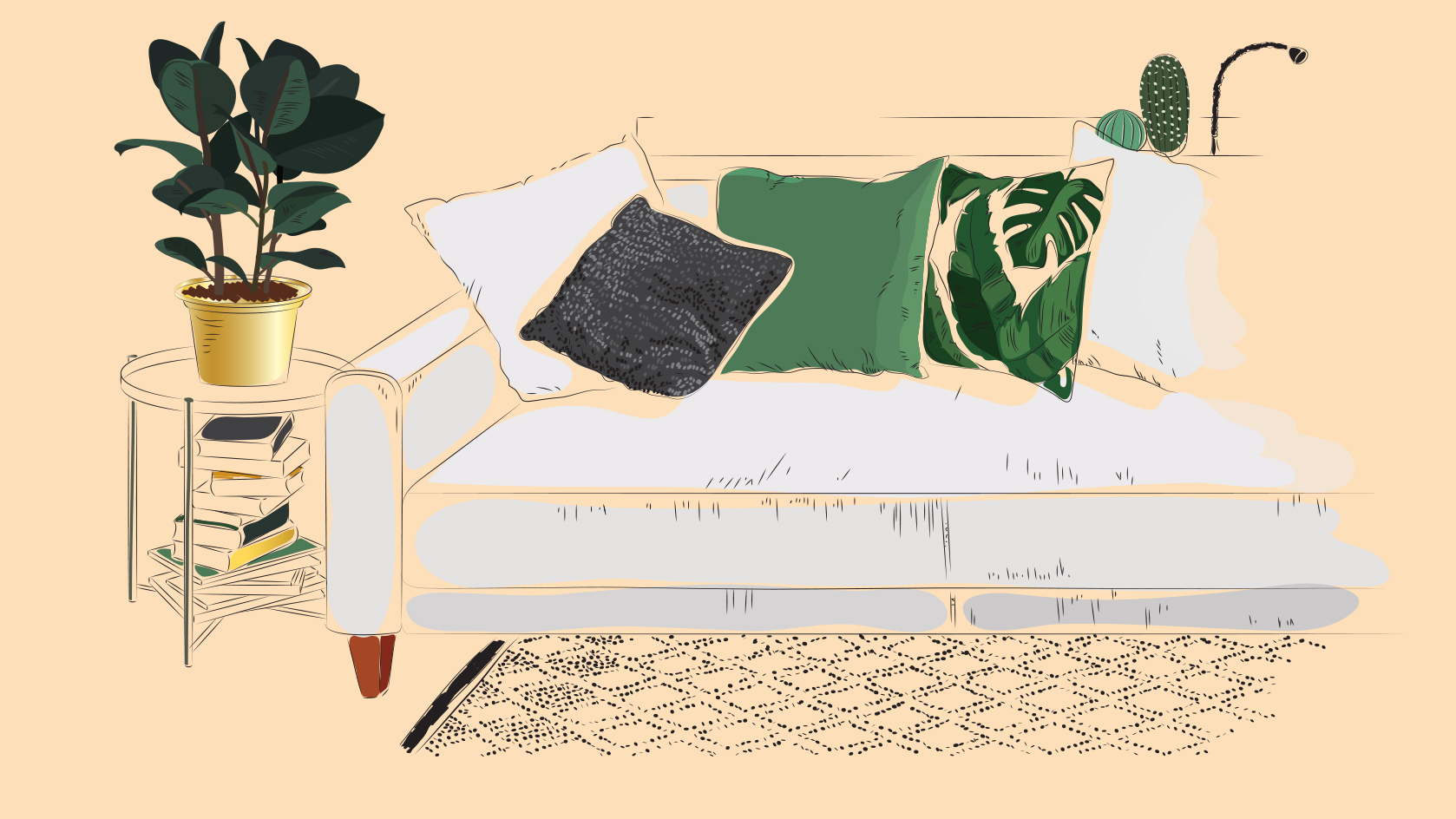 How to Make Your House Feel More Like a Home, living room illustration