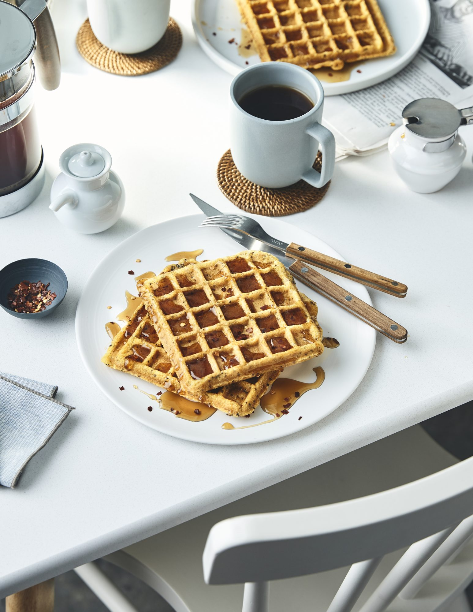 Savory Cornmeal-Chia Waffles With Spicy Maple Syrup (0119FOO)