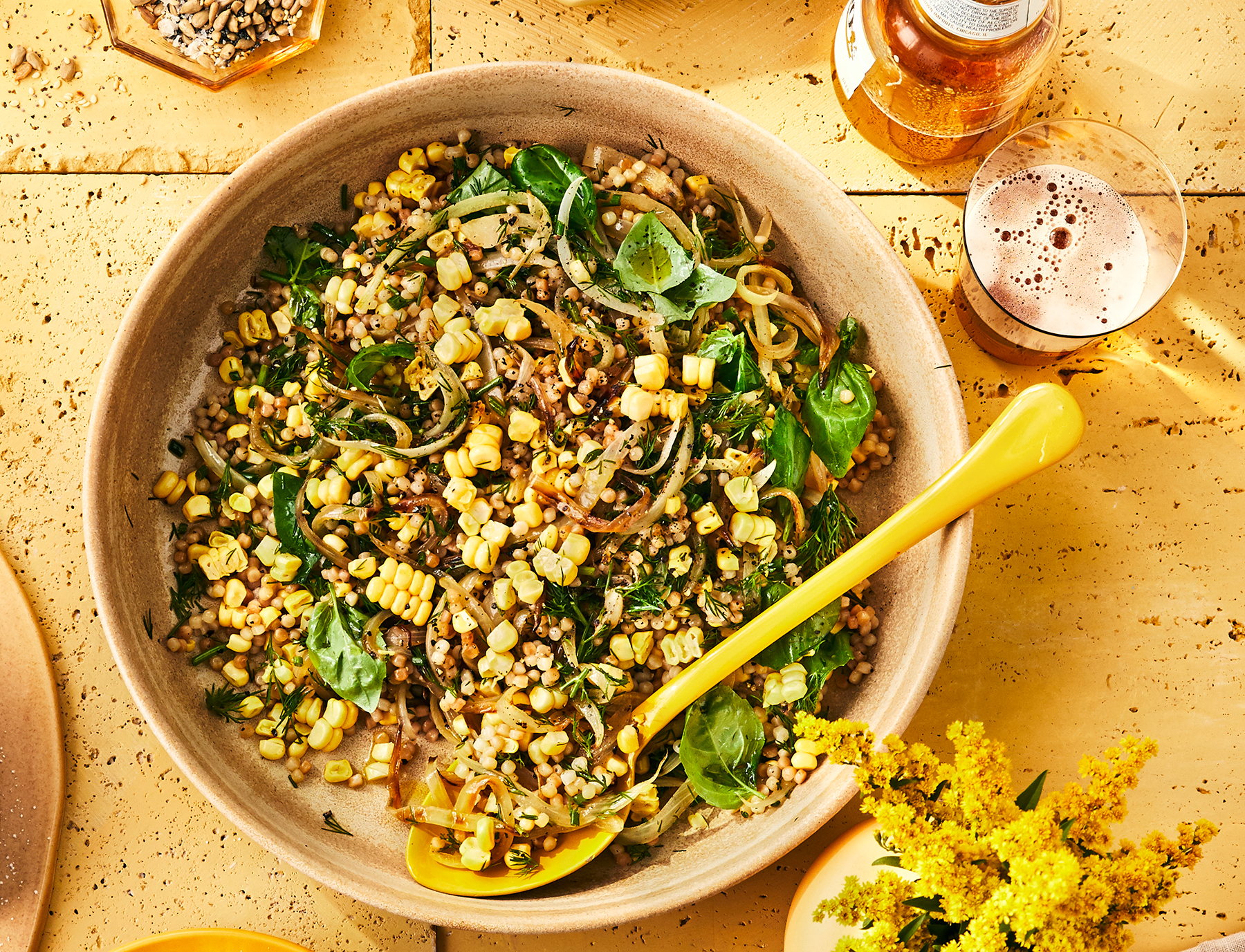 Toasted Israeli Couscous With Corn and Herbs Recipe