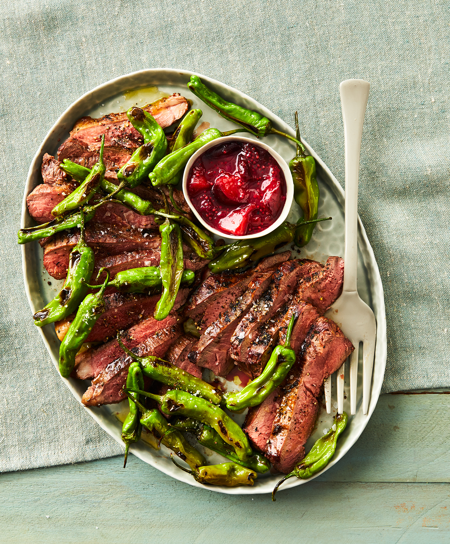 Grilled Lamb With Plum Mostarda and Blistered Shishitos Recipe