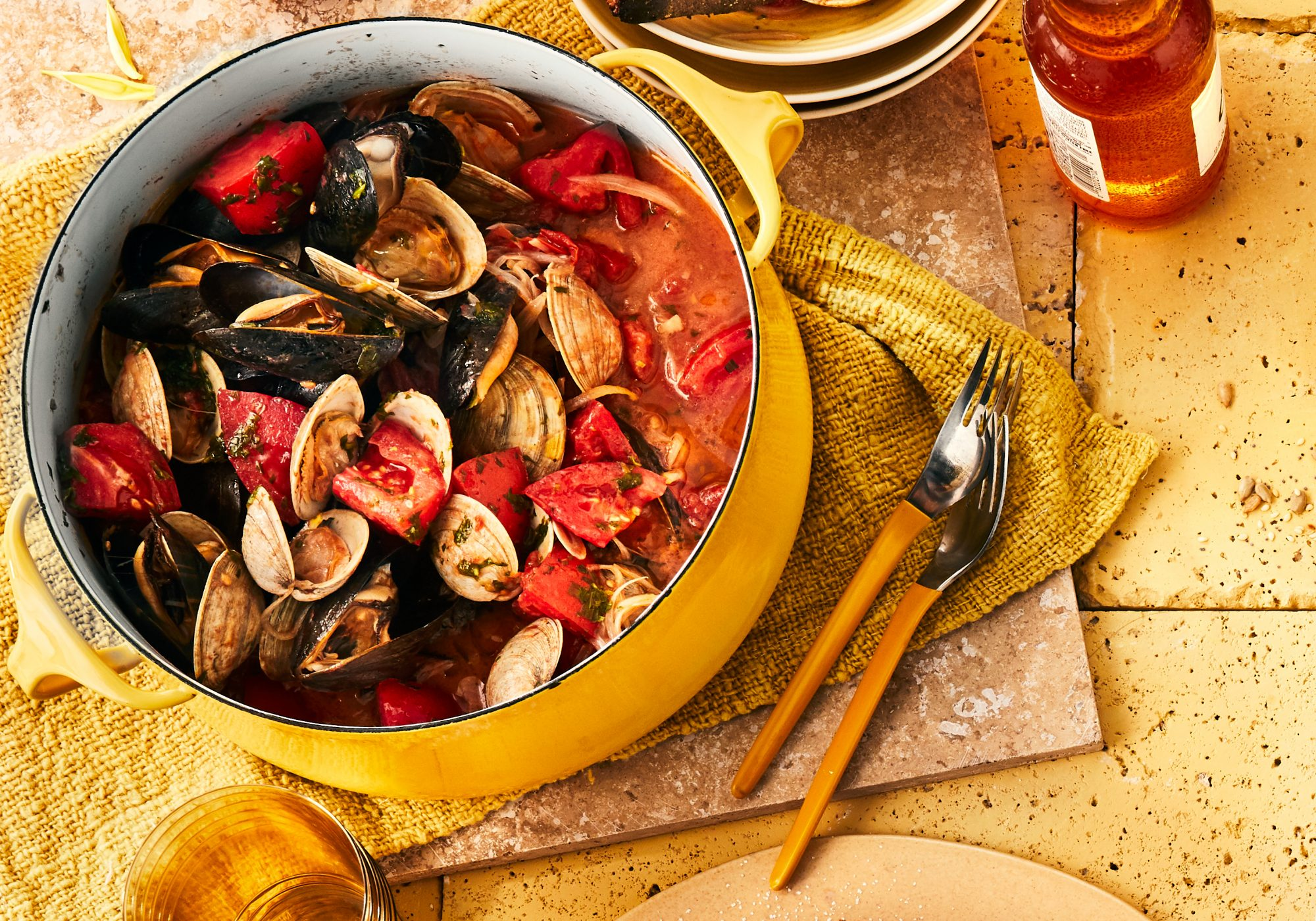 Mussels and Clams With Tomatoes and Tarragon Recipe
