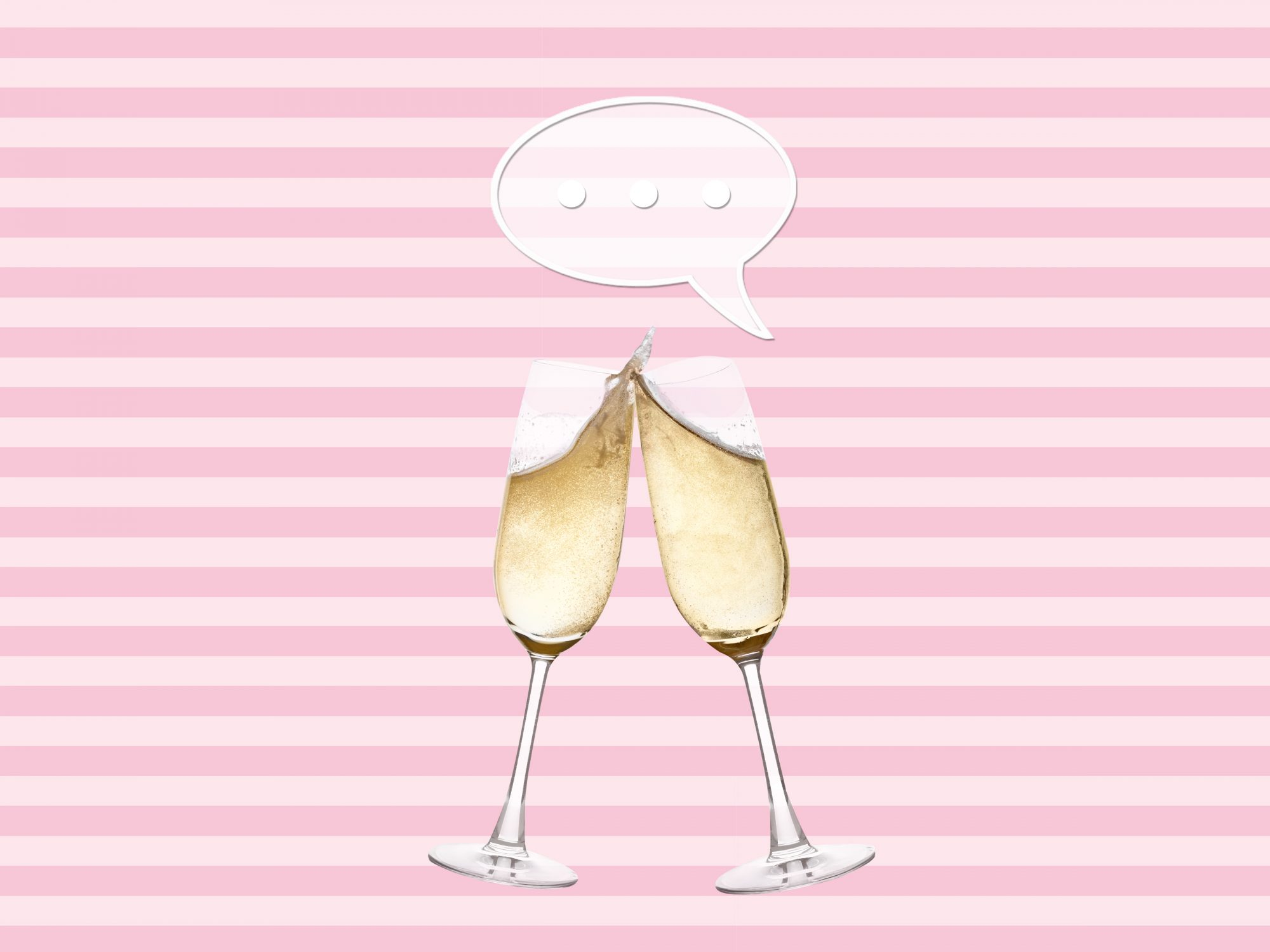 Maid of honor speech quotes: two champagne glasses and a speech bubble on a pink background