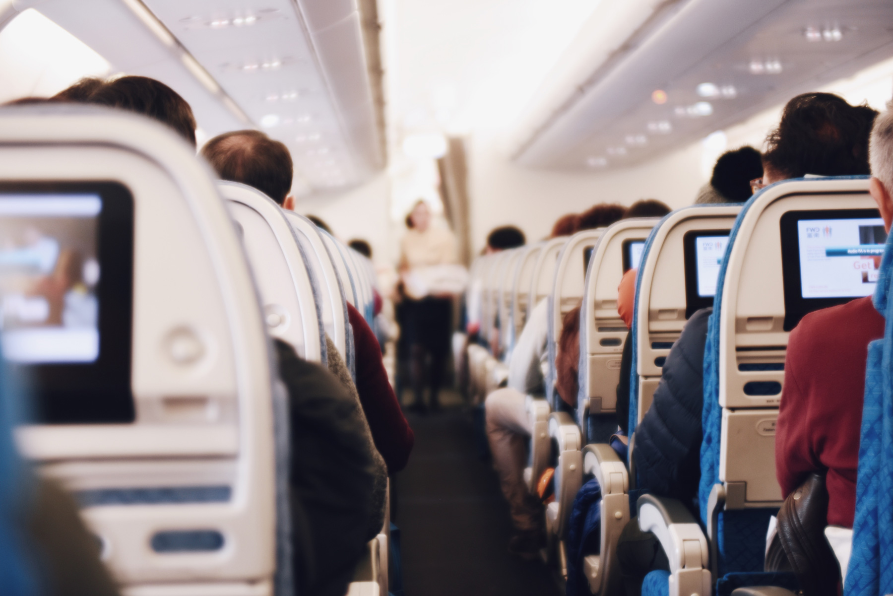 Inside view of airplane