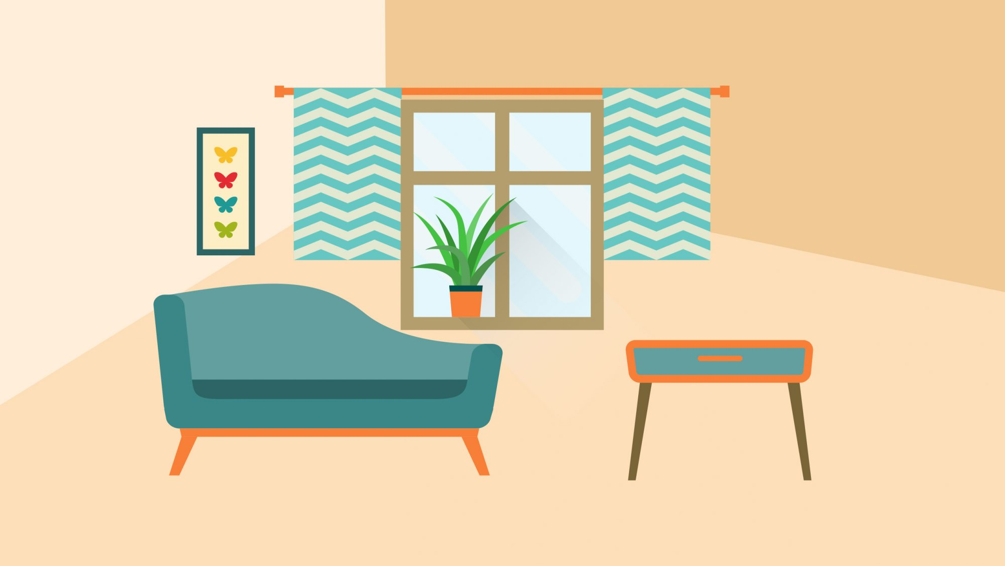 Illustrated living room with too-short curtains