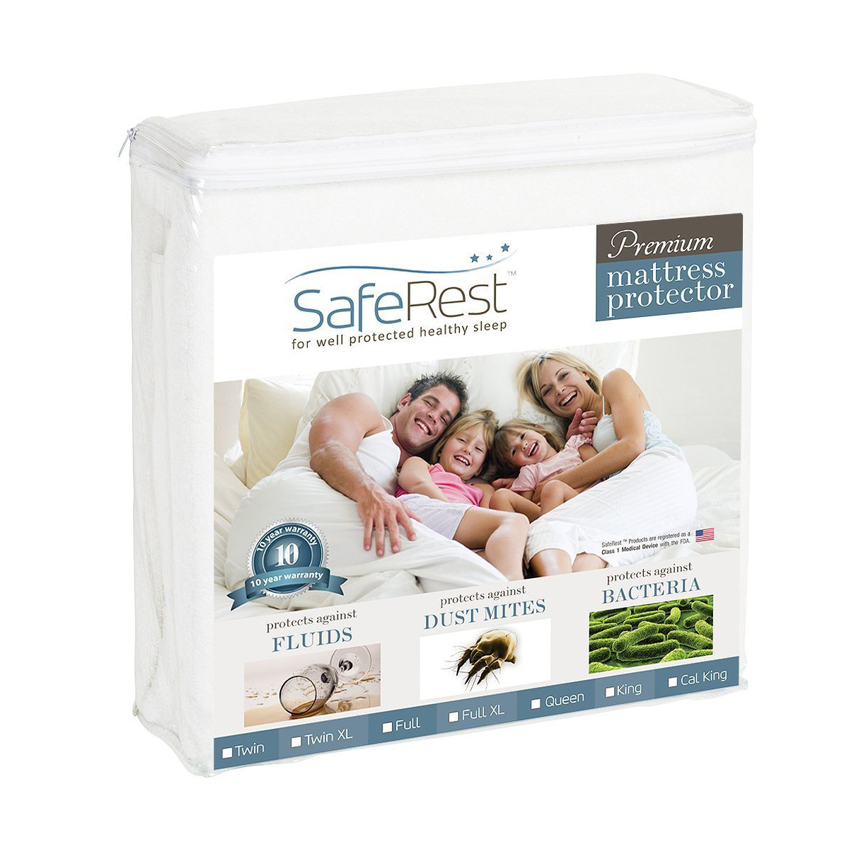 SafeRest Queen Premium Hypoallergenic Waterproof Mattress Protector