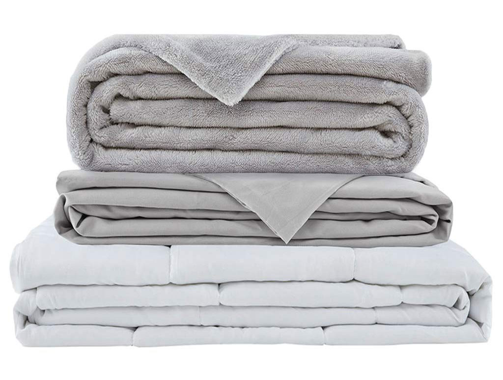 Degrees of Comfort Weighted Blanket w/ 2 Duvet Covers for Hot & Cold Sleepers