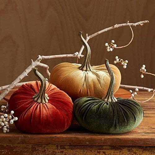 Large Velvet Pumpkins Set of 3 Includes Rust, Gold and Olive