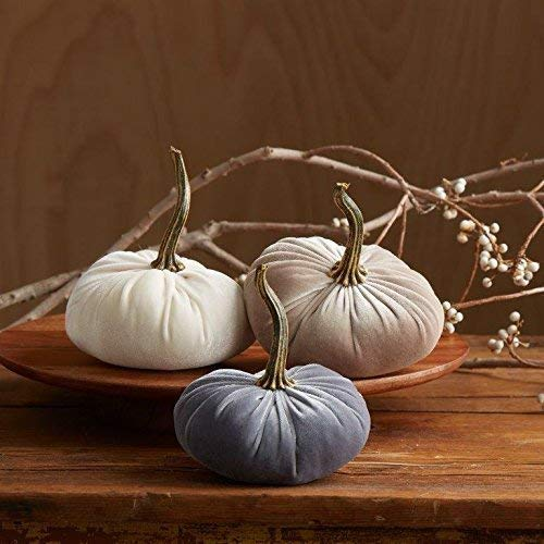 Velvet Pumpkins Set of 3 Includes Ivory, Gray and Taupe