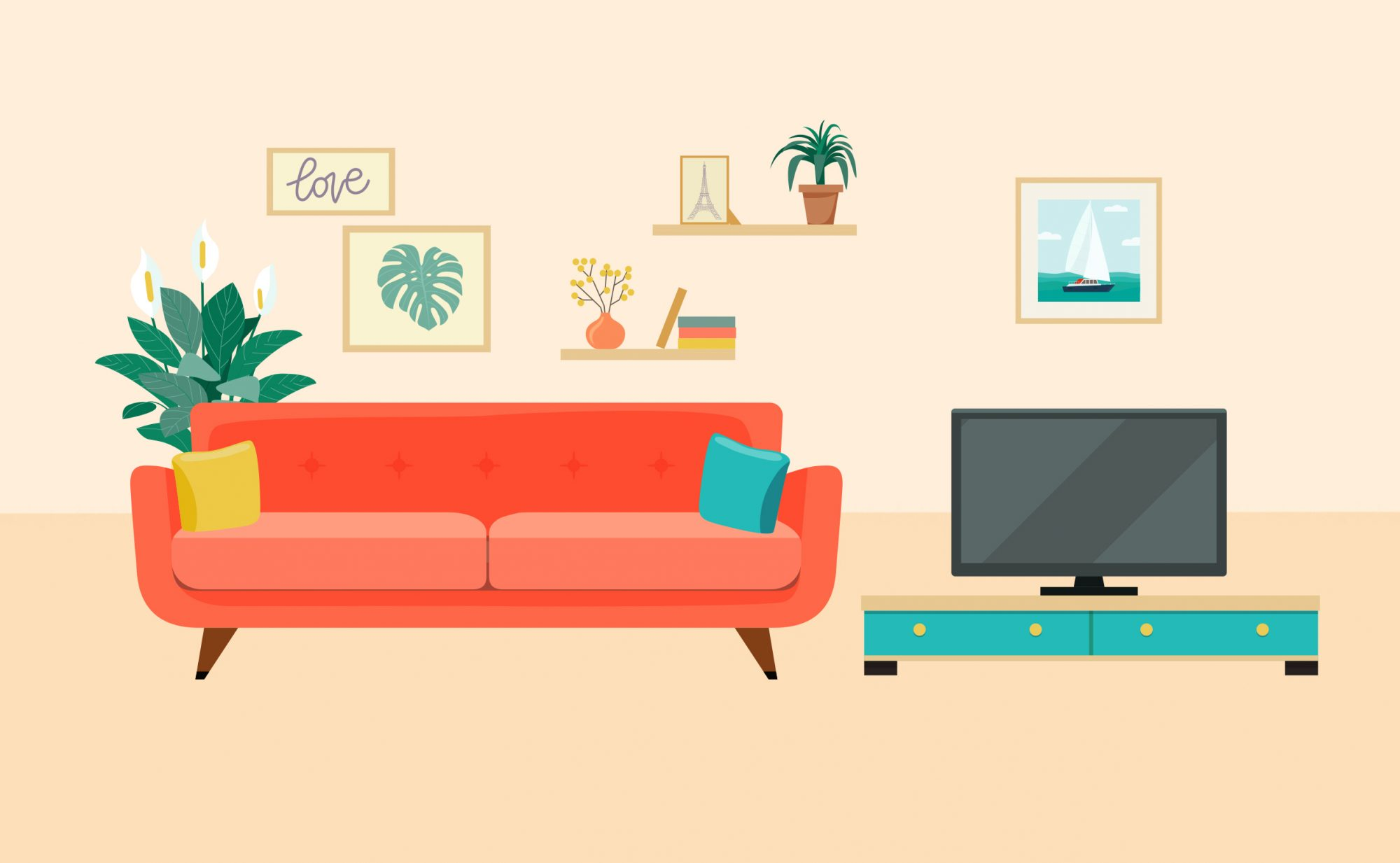 Best Place to Buy Furniture for Your First Apartment, living room illustration