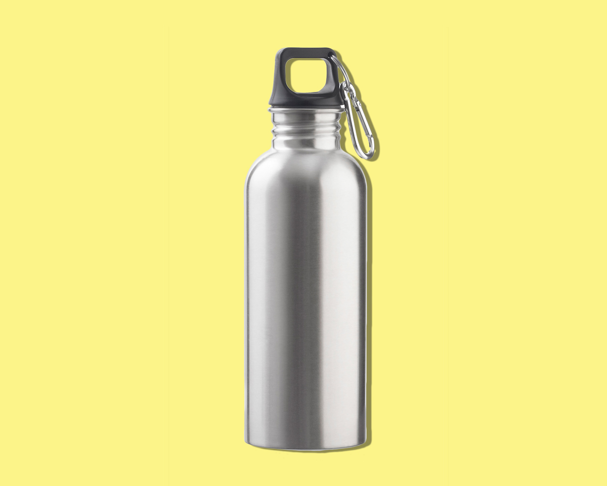 How to Clean Water Bottle, water bottle on yellow background