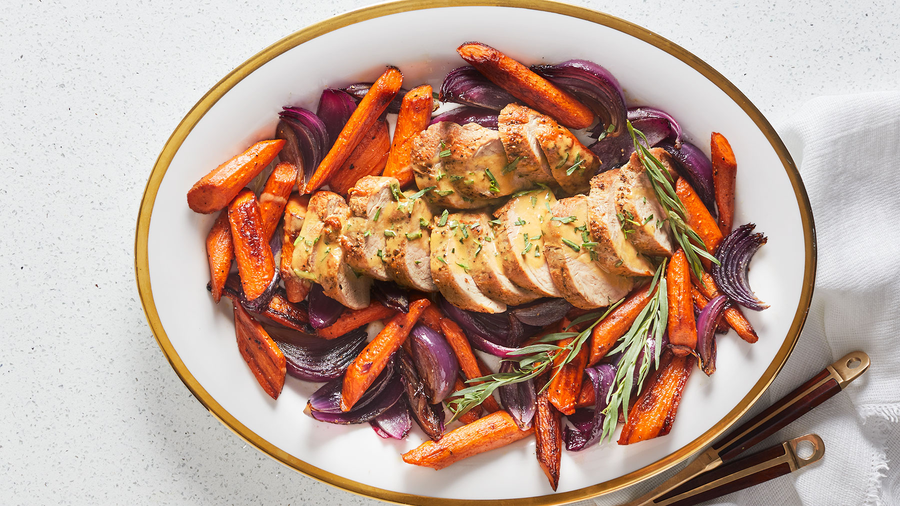 Roast Pork With Carrots and Tarragon-Mustard Sauce