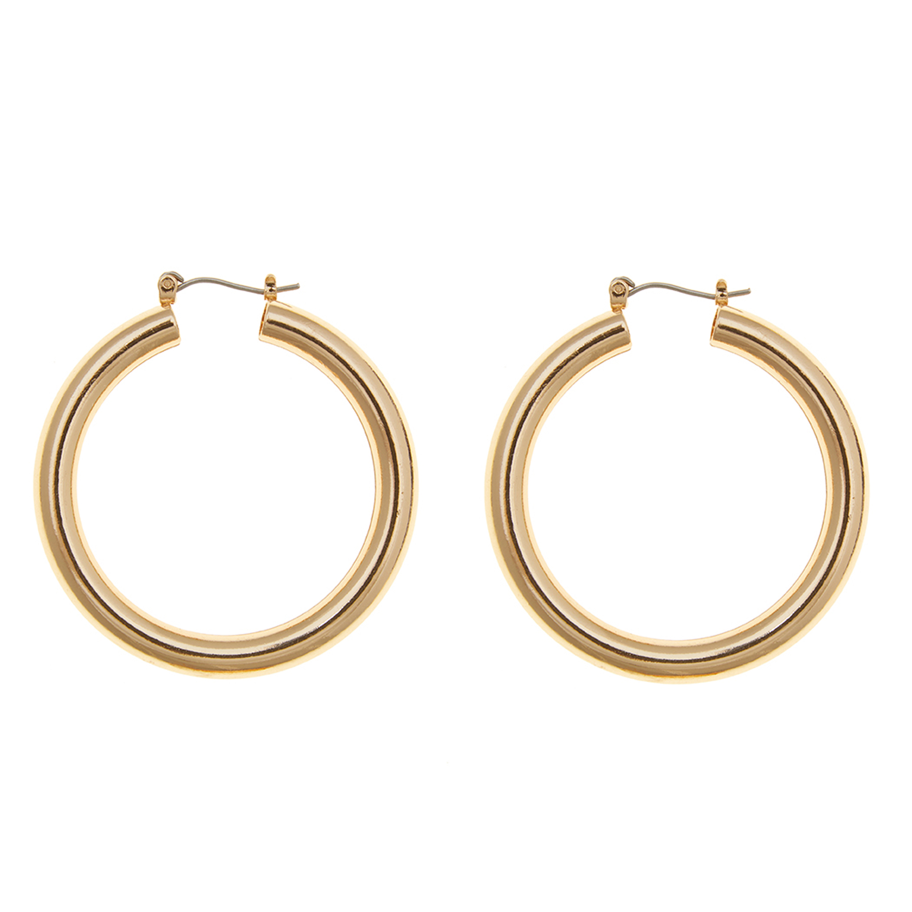 Cheap Christmas Gifts: Eloquii Medium Tube Hoop Earrings in Gold