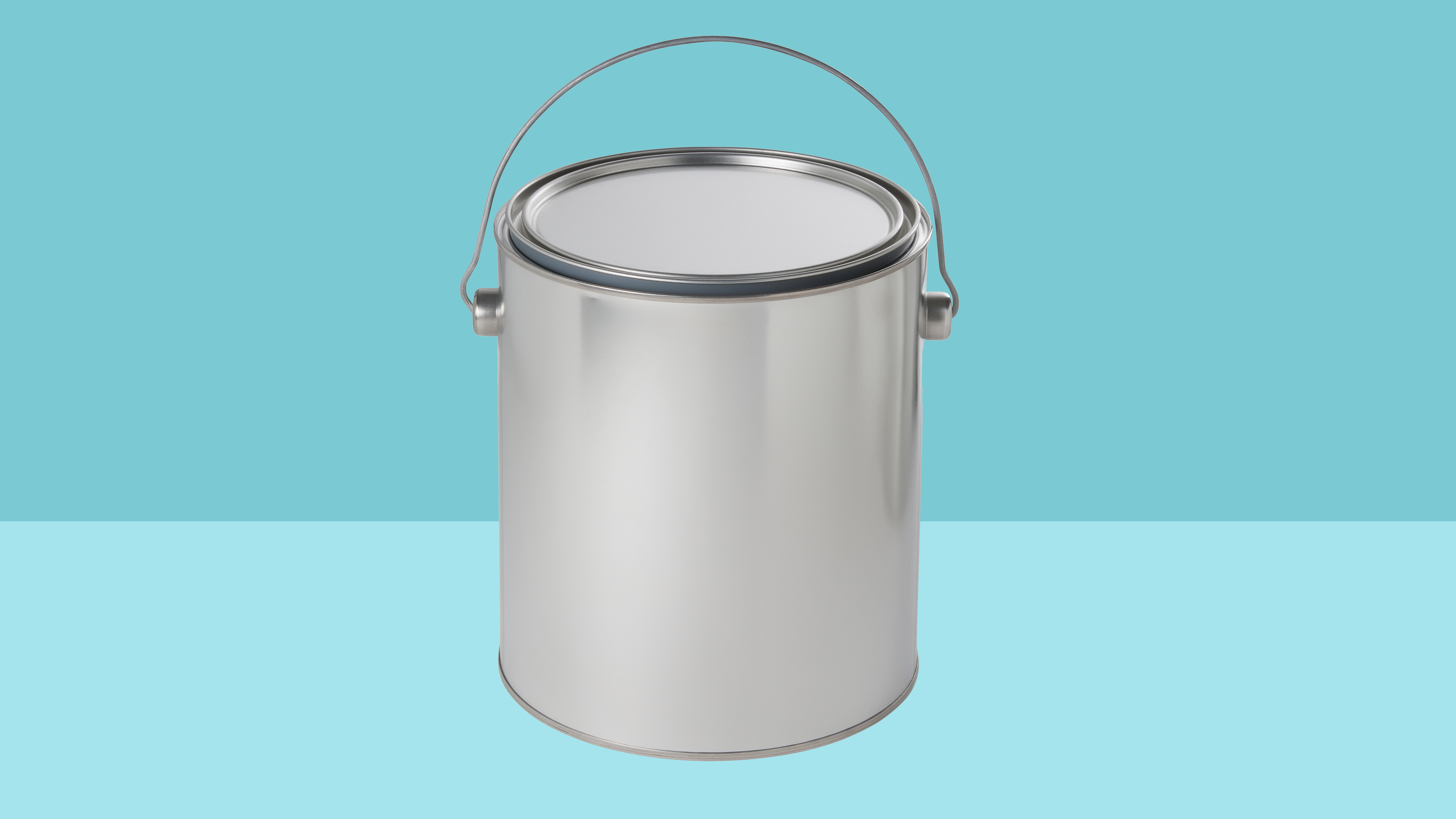 paint can on blue background