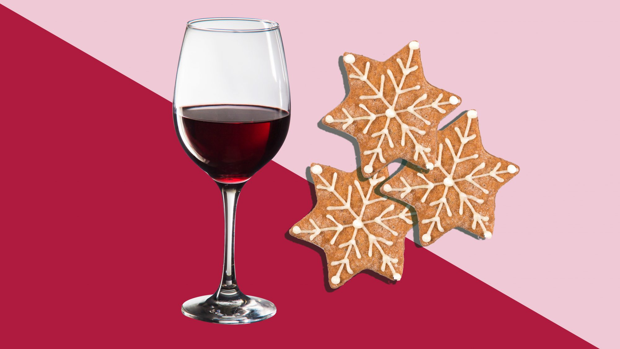 glass of red wine and cookies