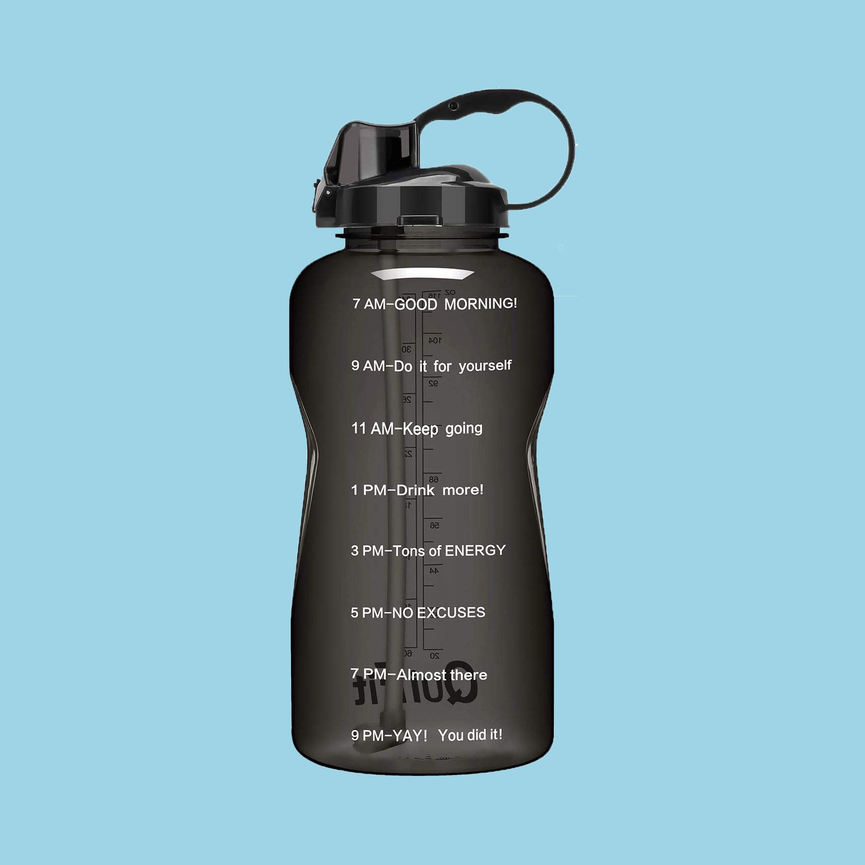 Motivational Water Bottle Time Marking in Black