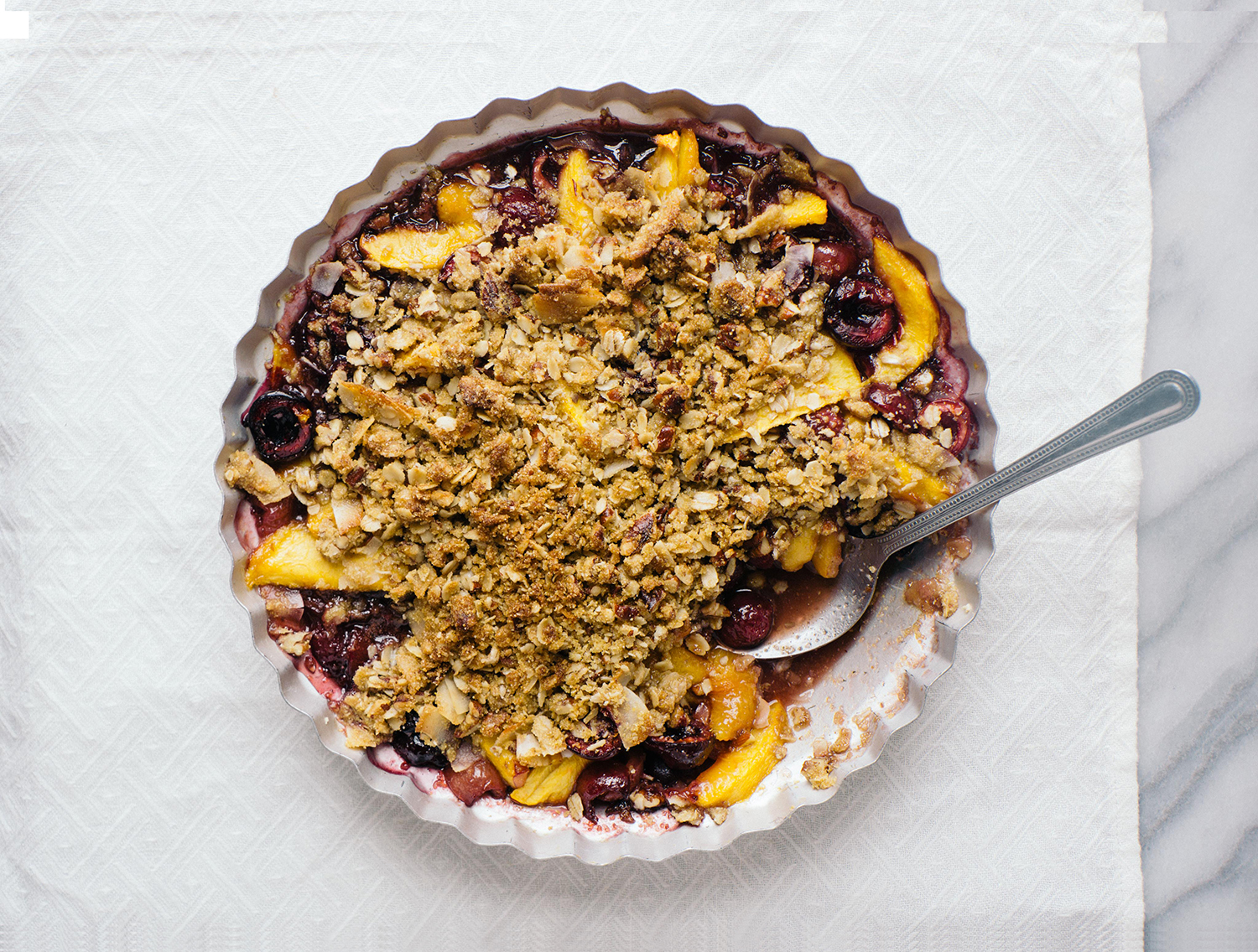 Cherry Nectarine Crisp with Cornmeal and Coconut