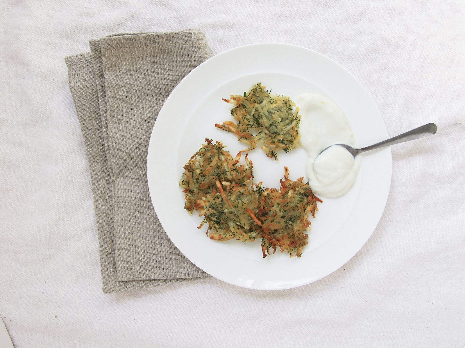 Dill Latkes with Lemon Sour Cream