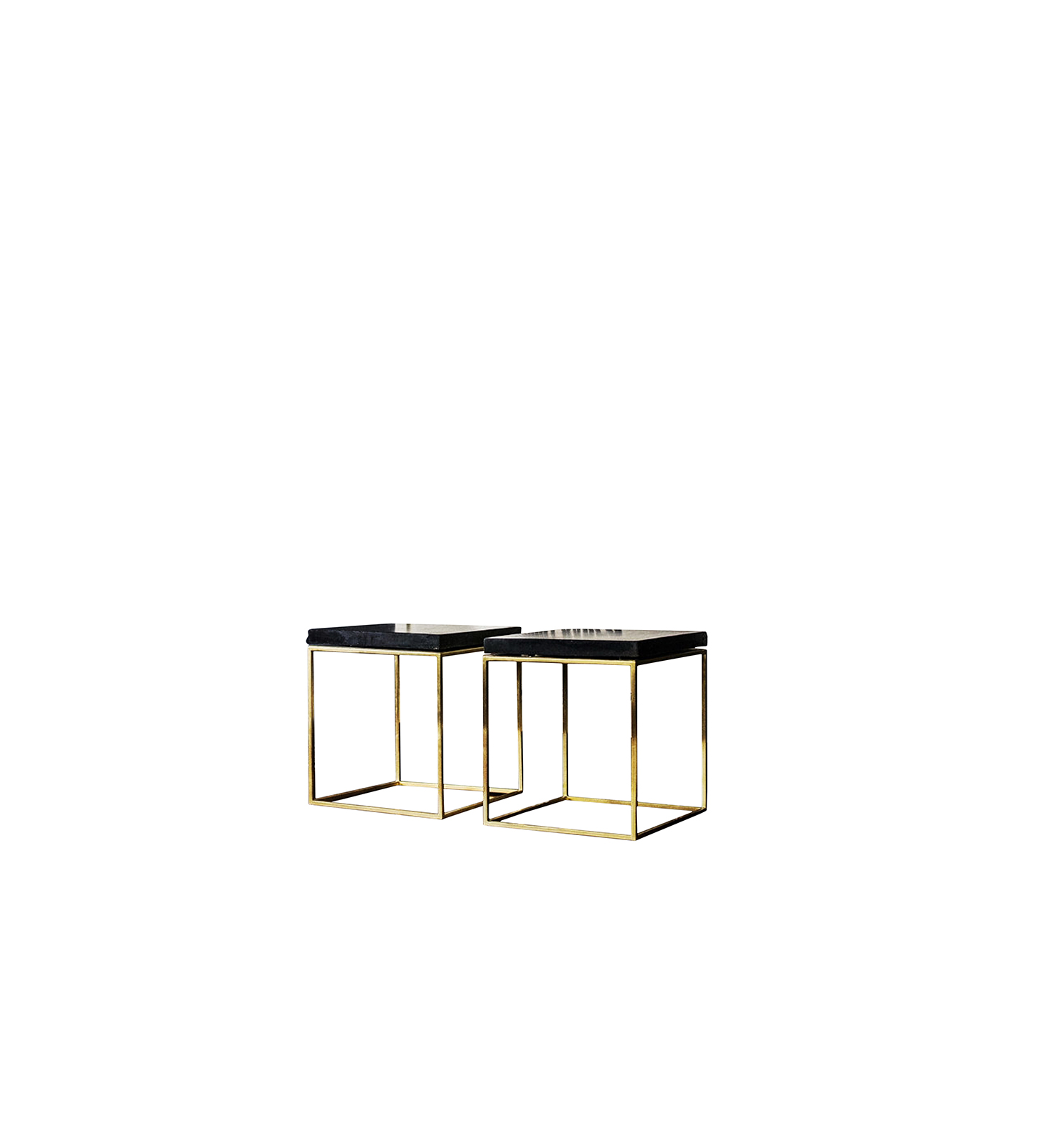 Brass and Black Concrete Stool