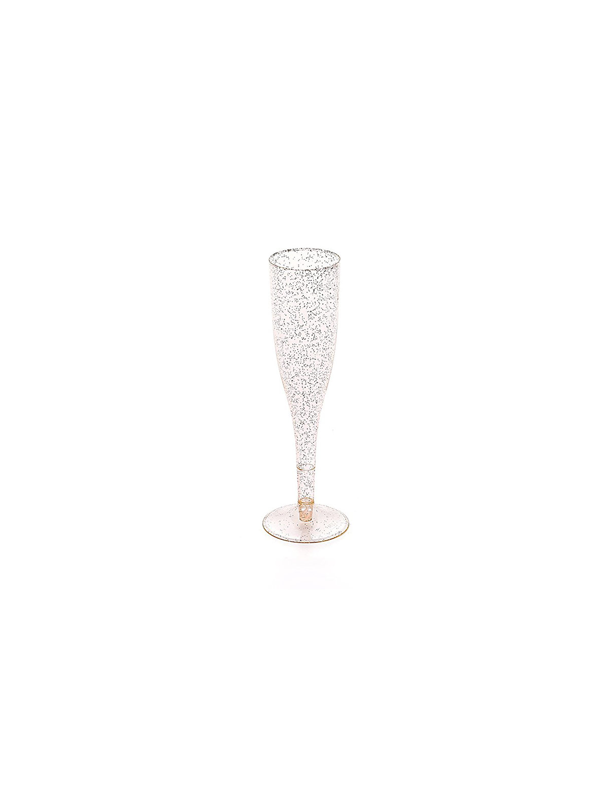 Plastic Toasting Flutes with Gold Glitter