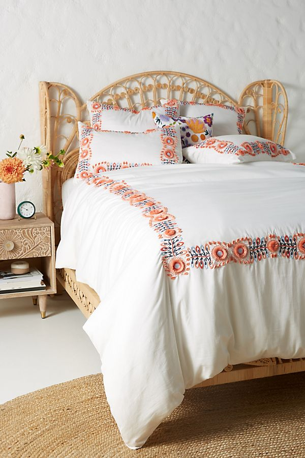 Embroidered Petunia Duvet Cover