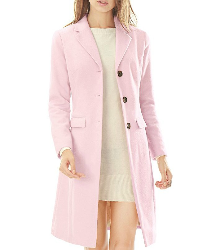 Allegra K Women's Notched Lapel Button Closure Coat