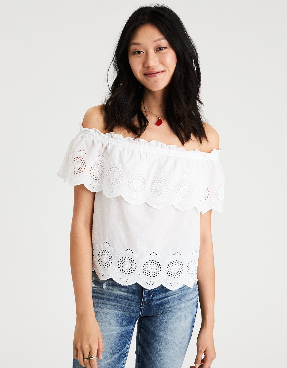AE Off-the-shoulder Eyelet Top