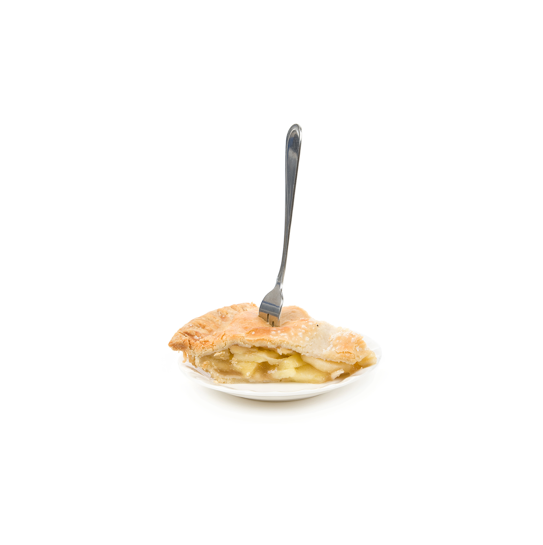 Apple pie slice with fork