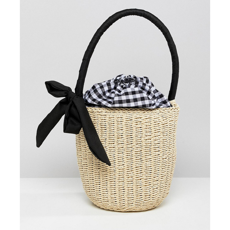ASOS Design Straw Top Handle Basket Bag With Gingham Insert