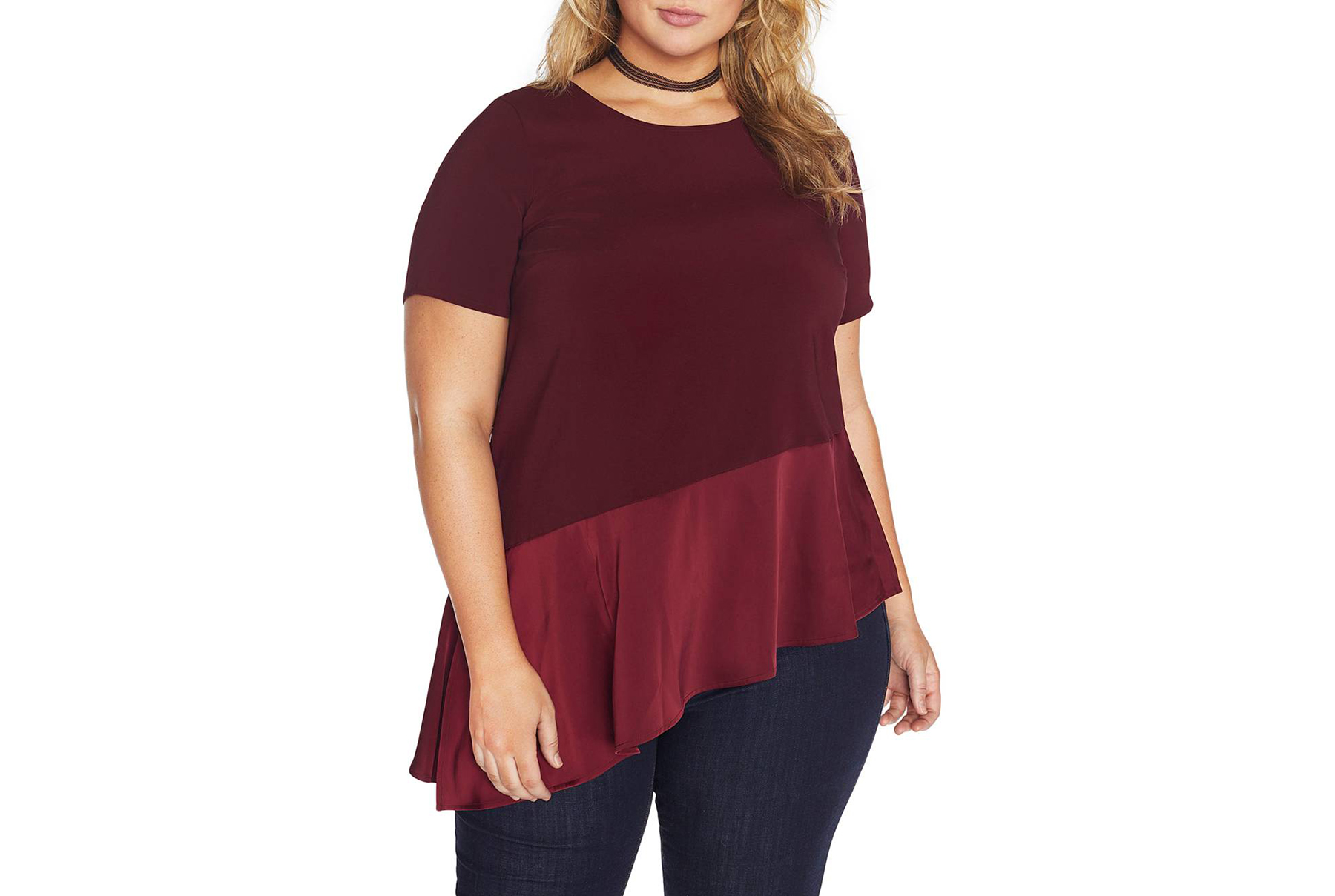 Asymmetrical Hem Crepe Top