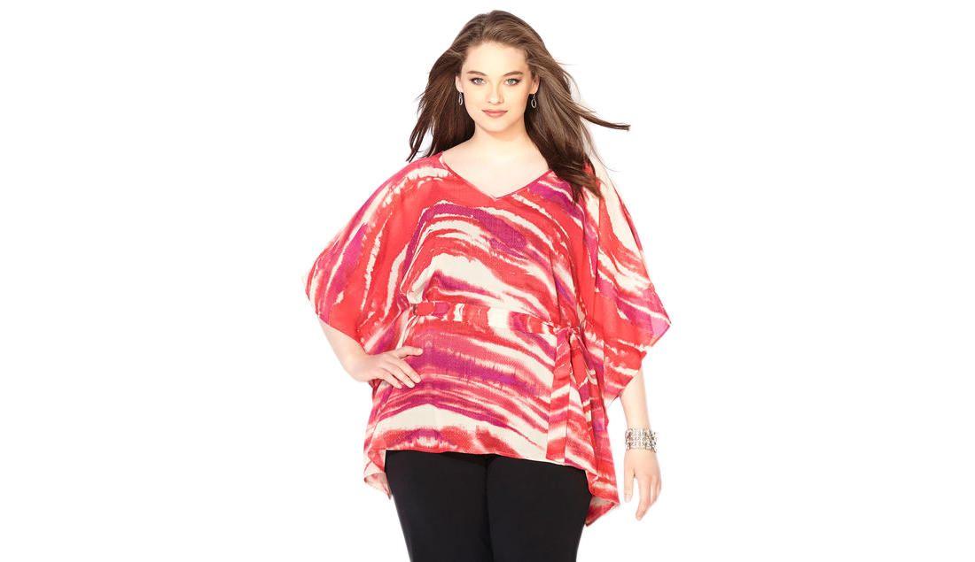 Pink Watercolor Belted Poncho