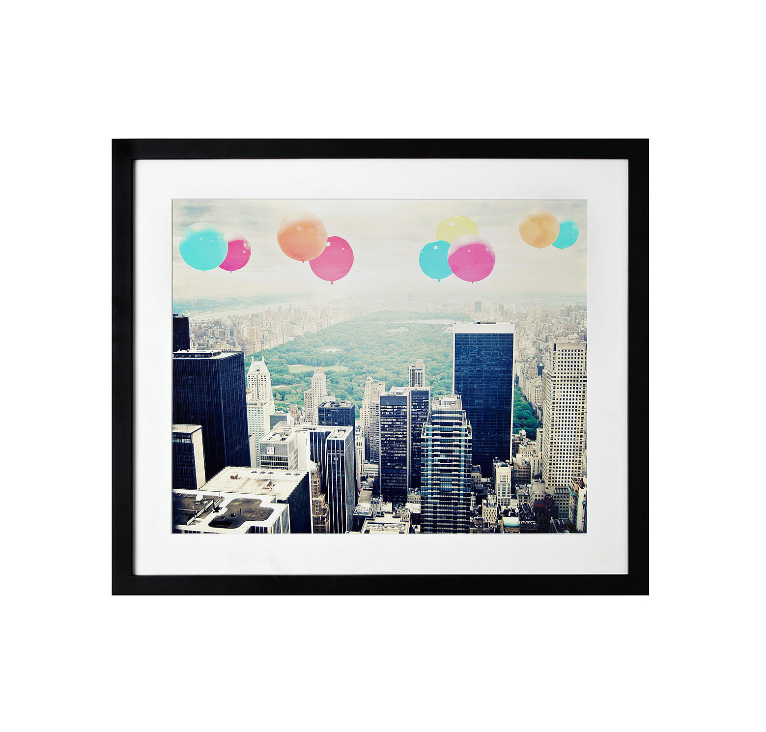 Balloons over central park in black frame