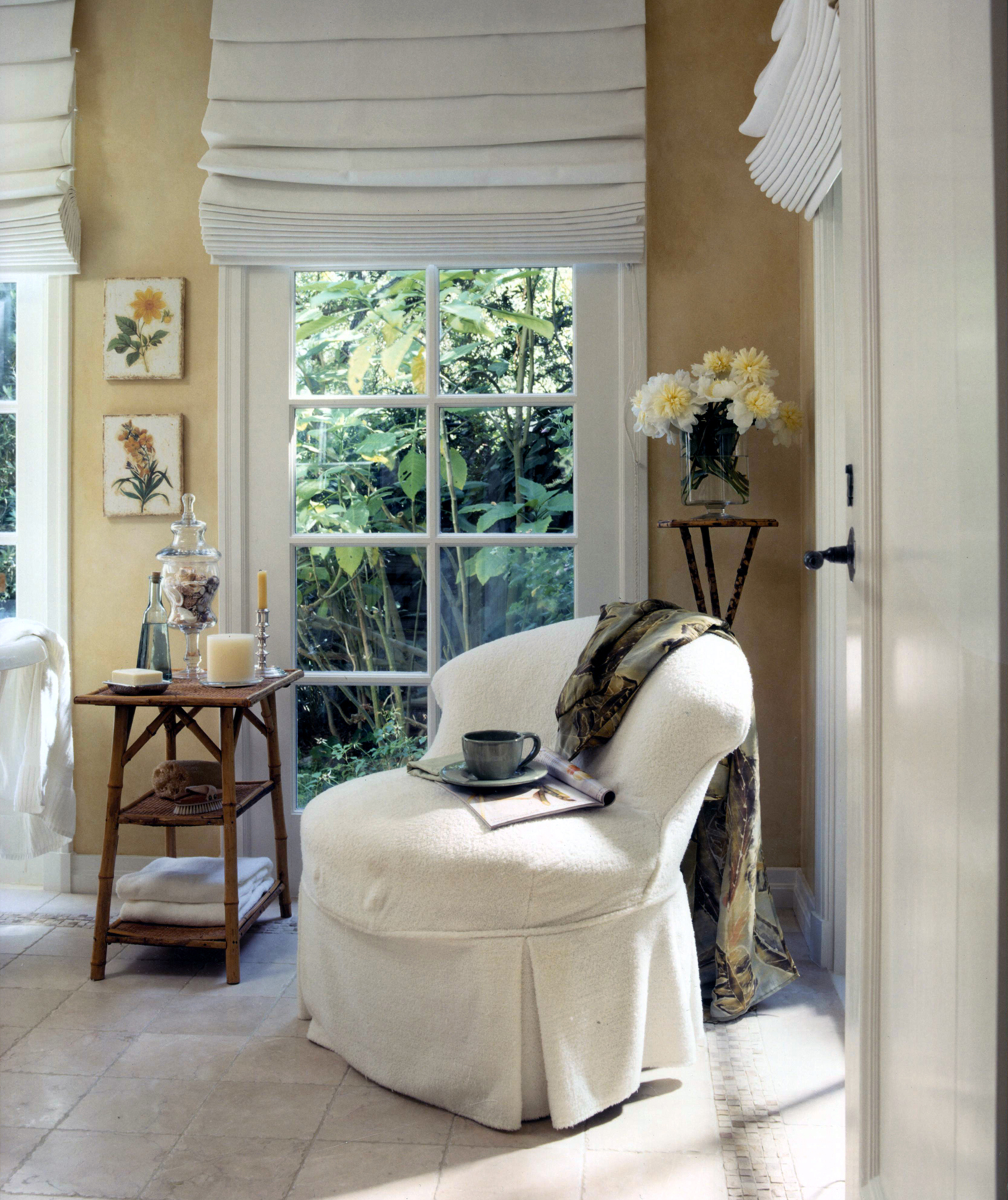 Bathroom with white chair