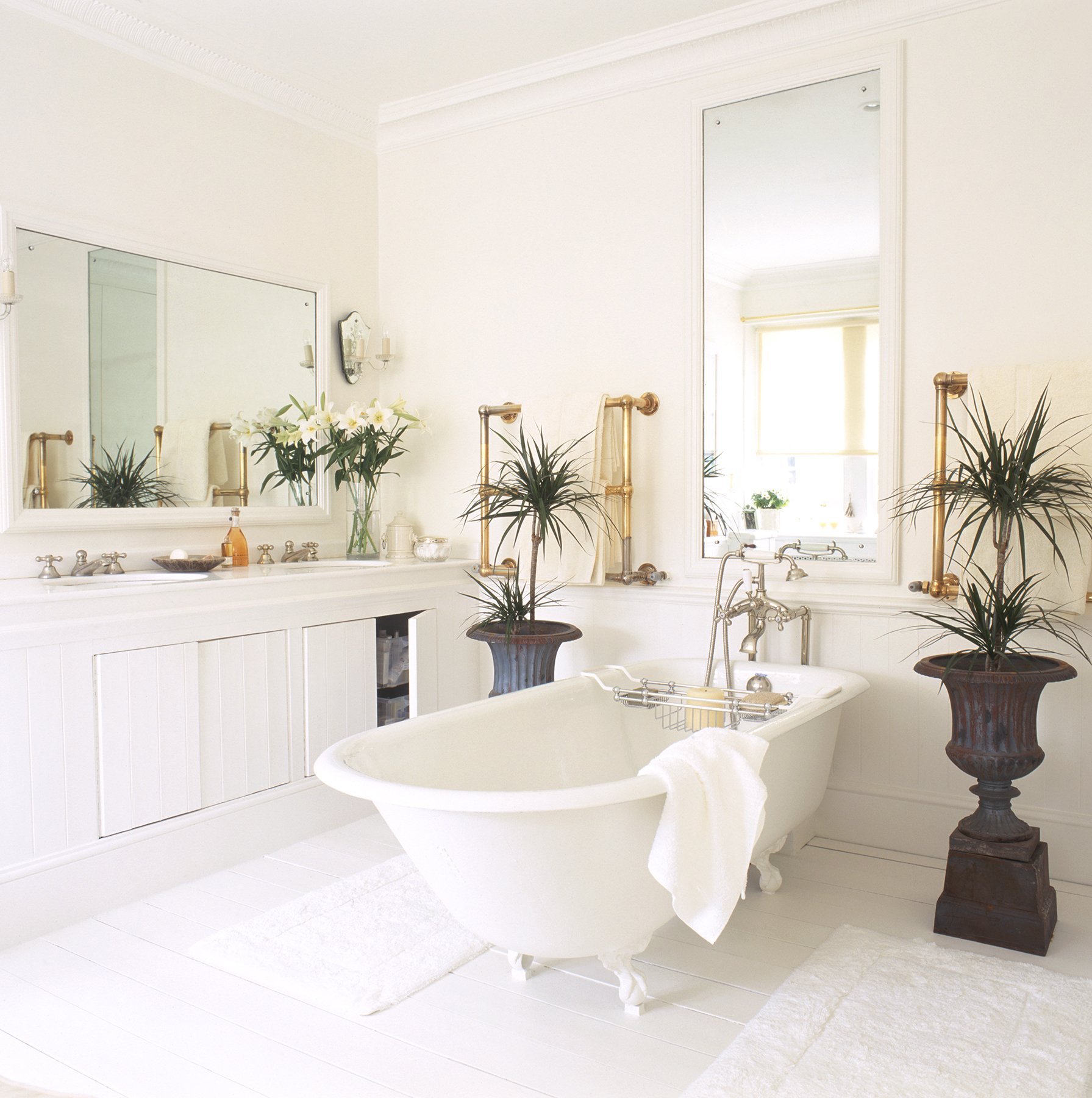 Bathroom with plants and clawfoot tub
