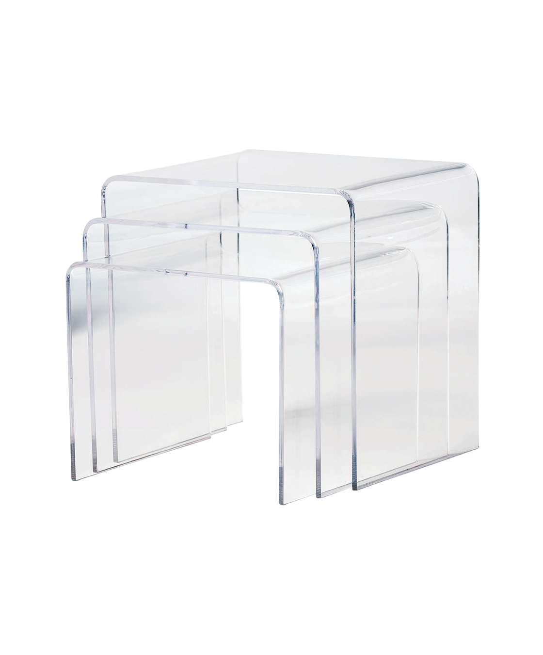 Baxton Studio Clear 3-Piece Nesting End Table