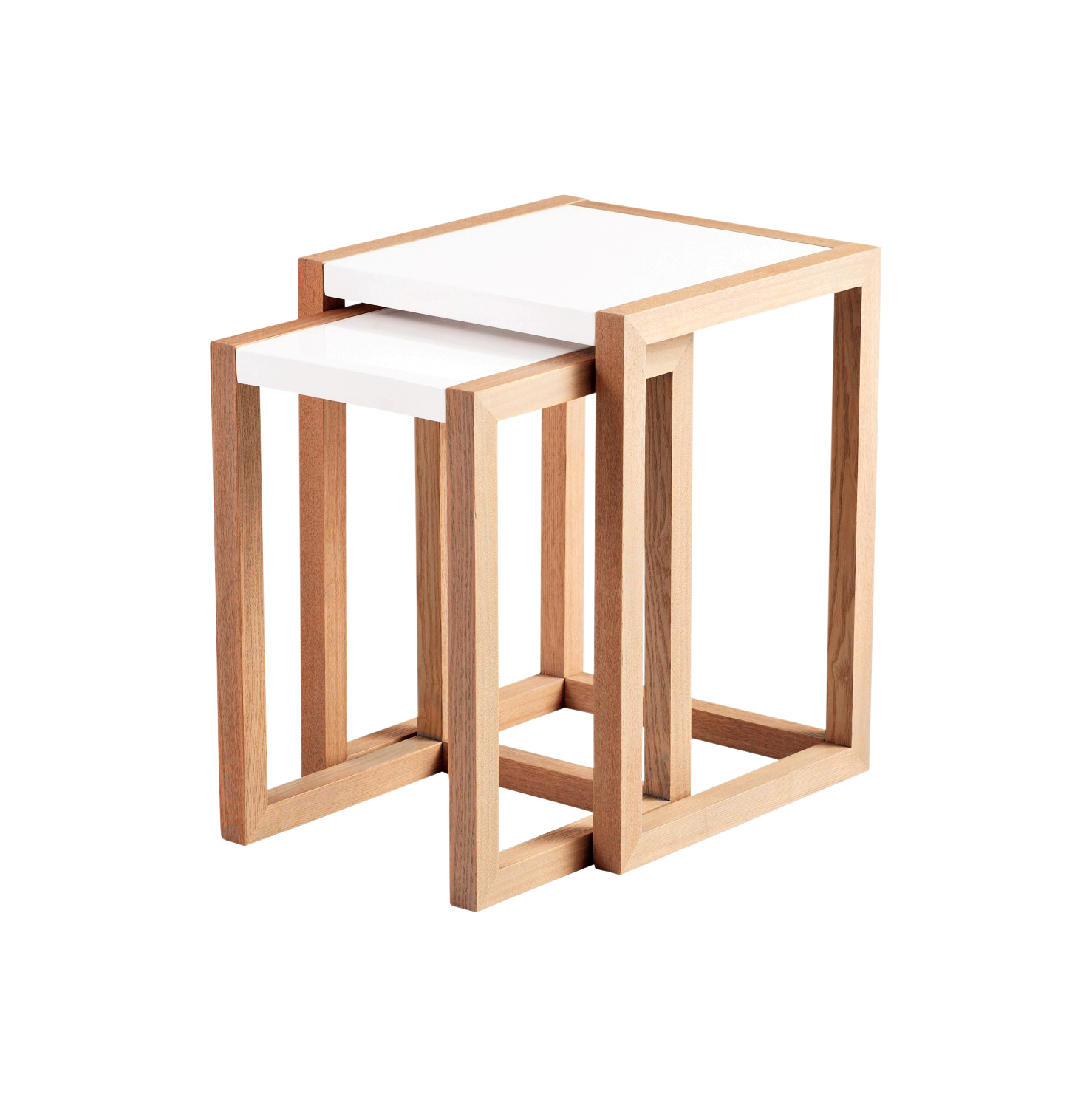 Beckett wood and white lacquer nesting tables