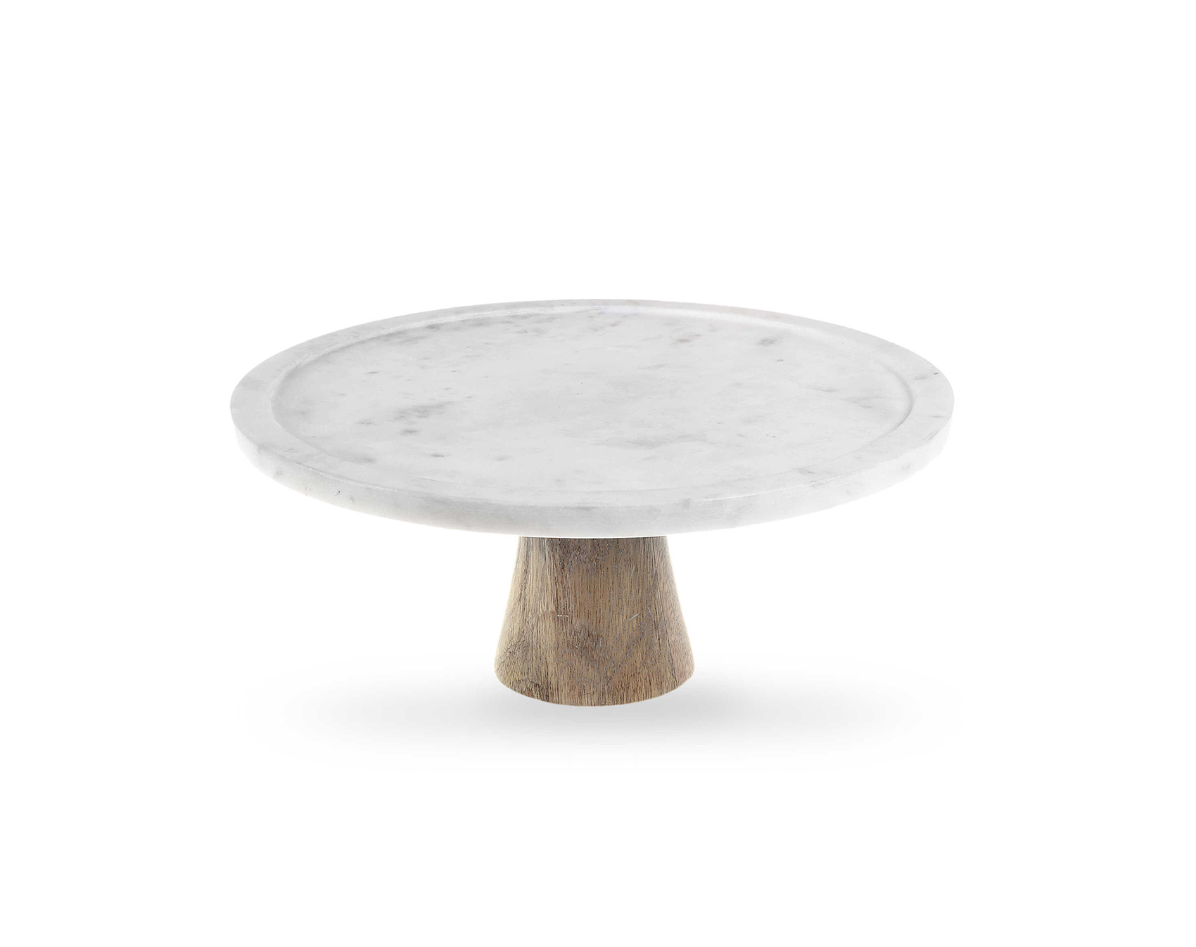 Bed Bath and Beyond Artisanal Kitchen Supply White Marble and Wood Cake Stand