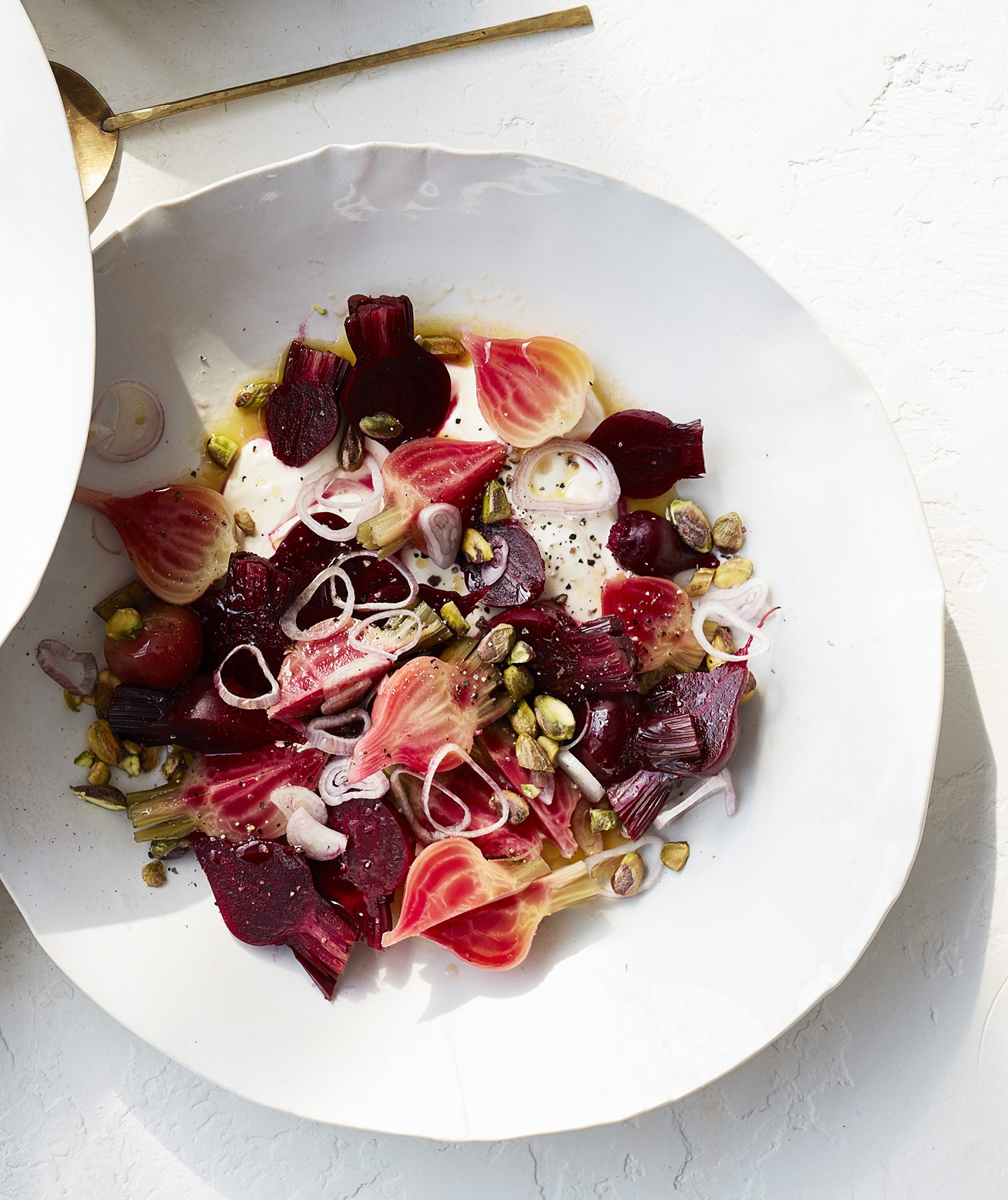 beets-creme-fraiche-shallots-and-pistachios