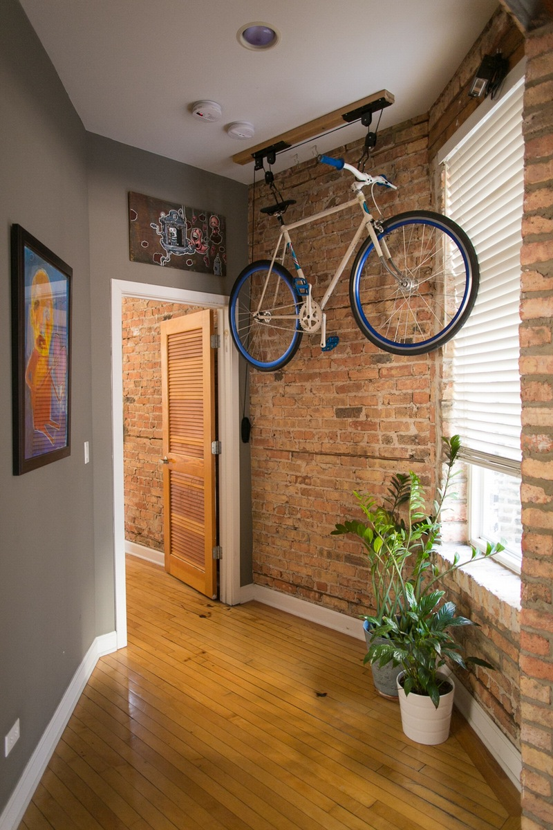 Bicycle hanging from ceiling