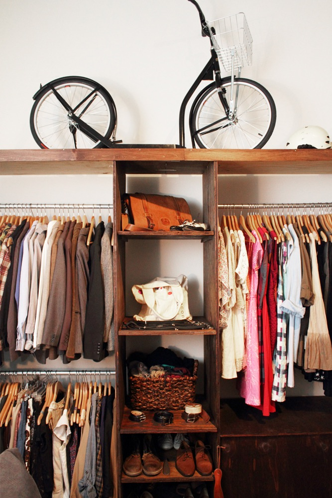 Bicycle on closet shelf