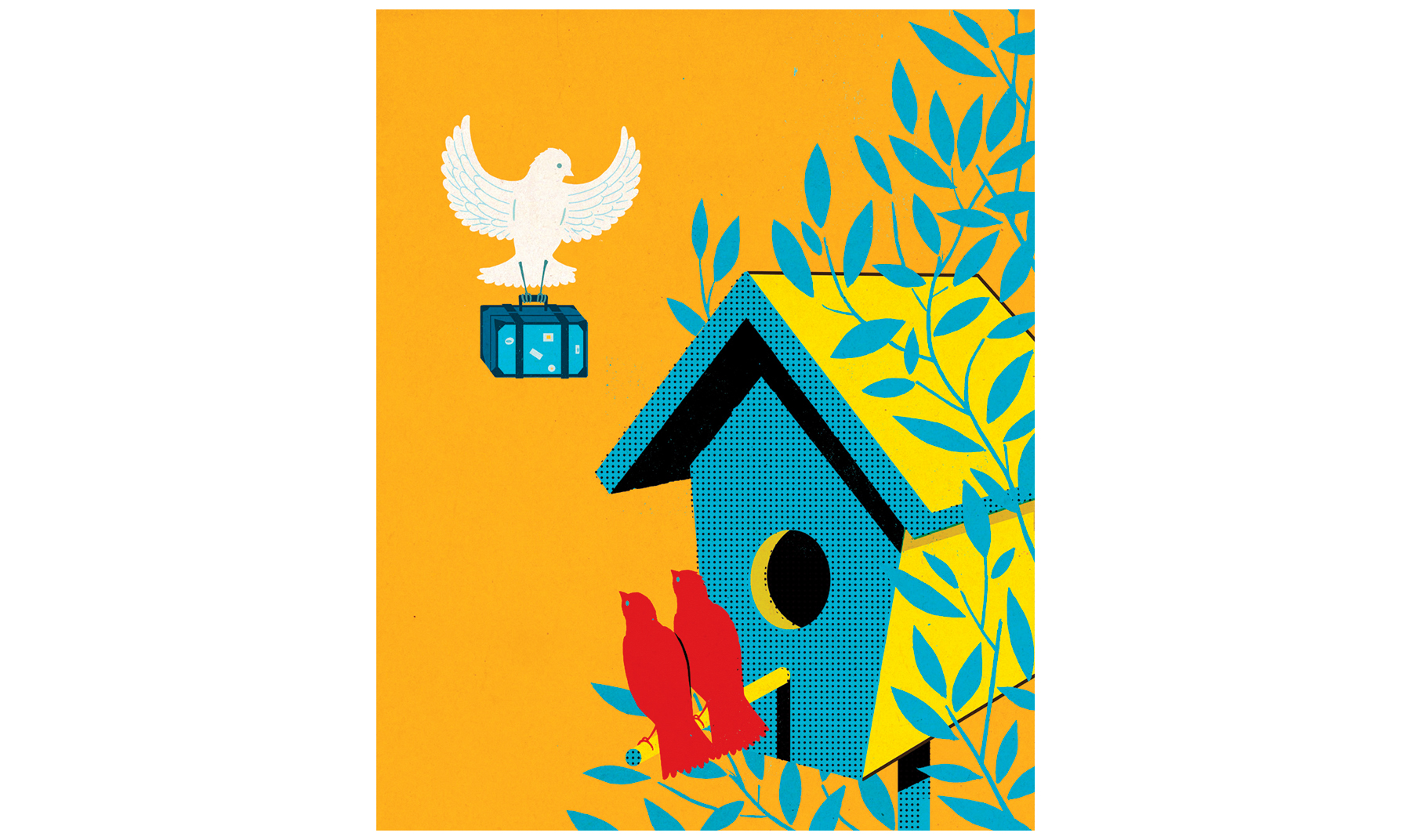 Illustration: Bird house with guests