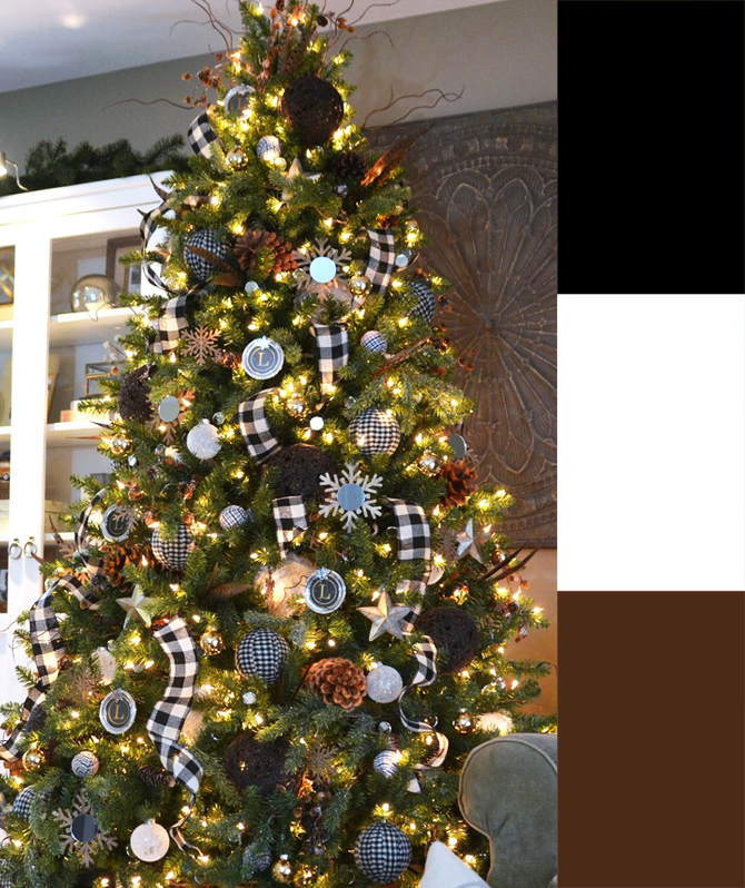black white plaid tree palette - 4 Christmas Tree