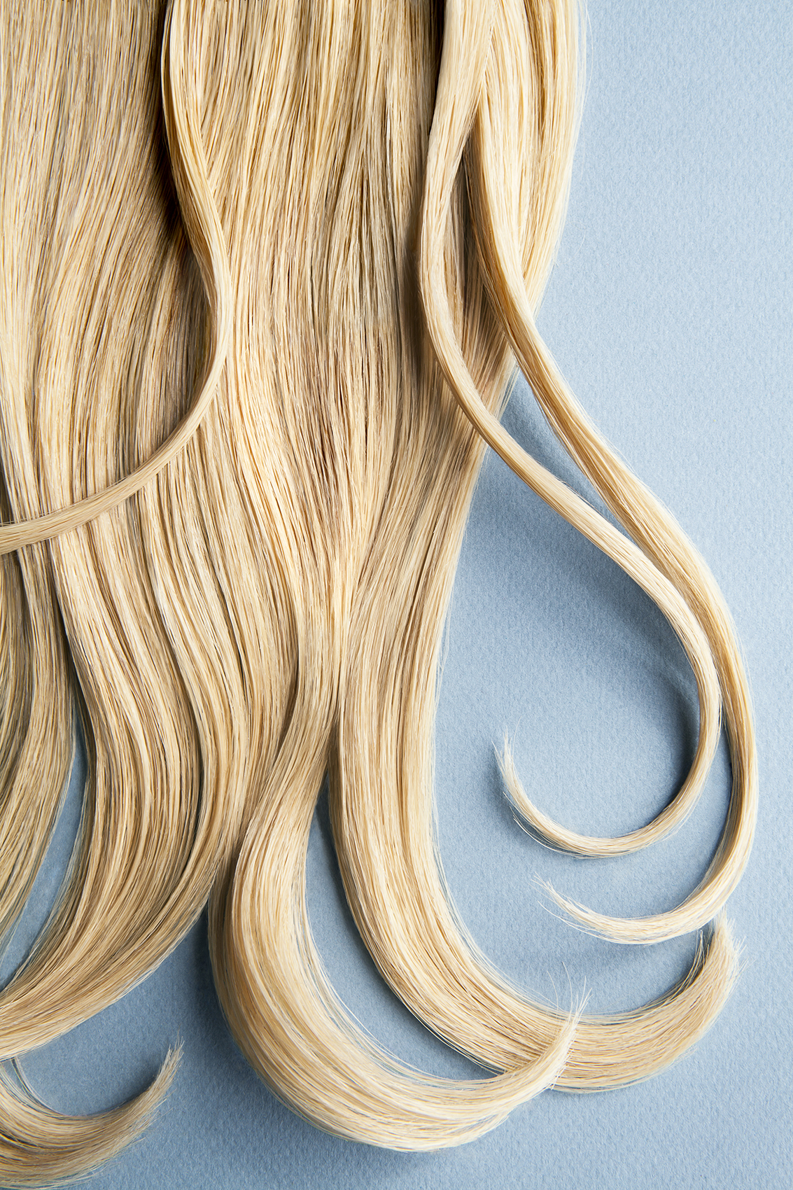 Blond hair on blue background