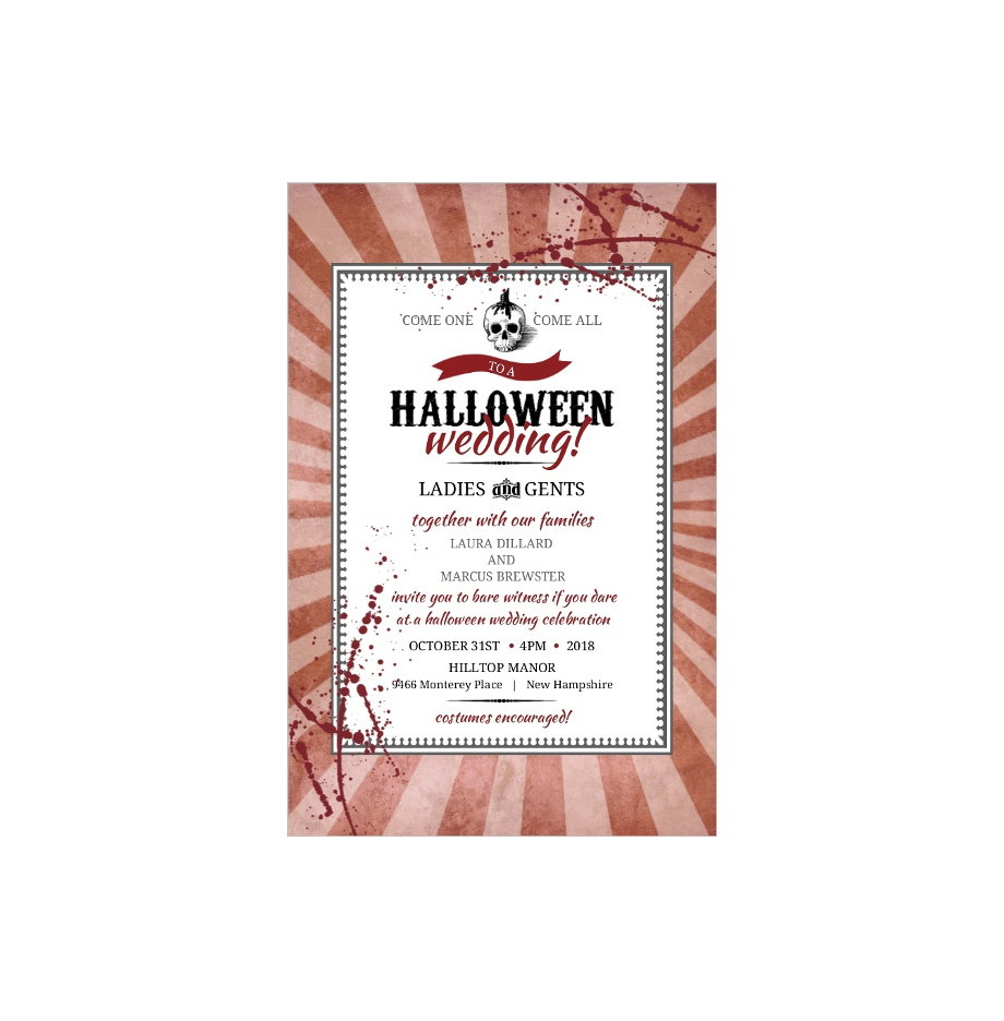 Halloween wedding invitations your guests will love real simple blood splattered invite filmwisefo