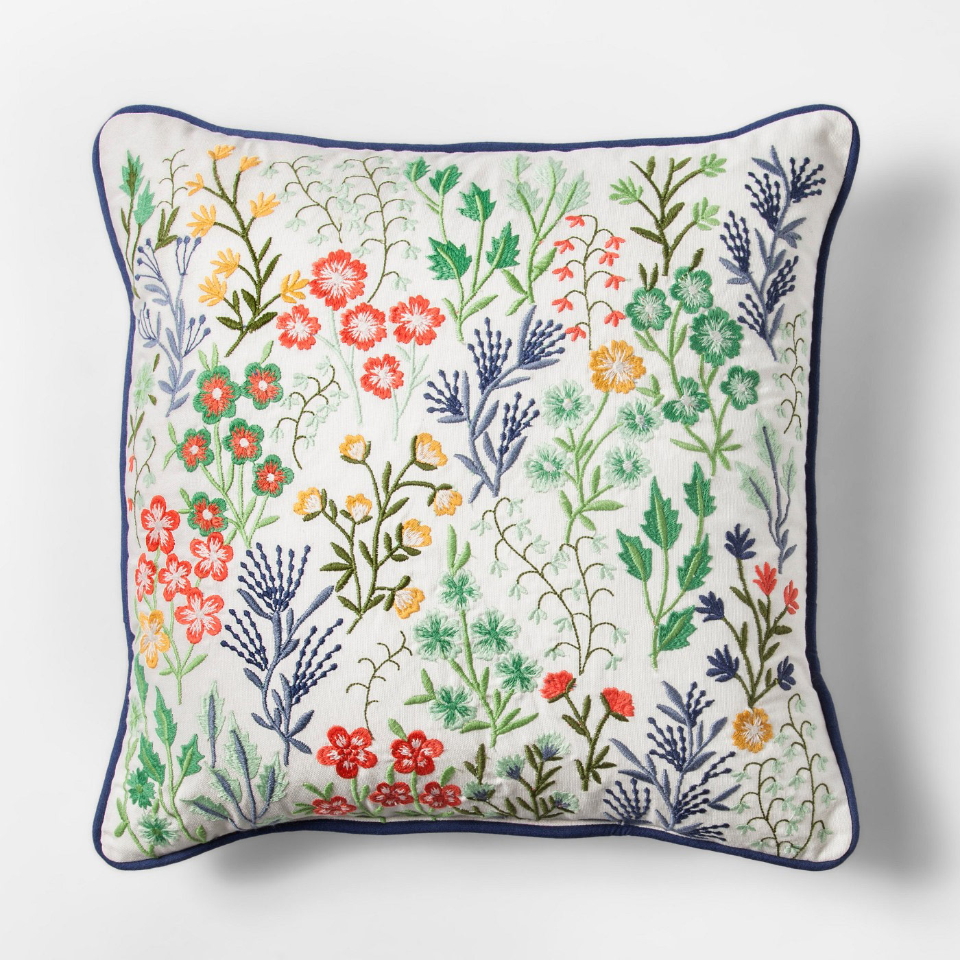 Blue Floral Embroidered Square Throw Pillow