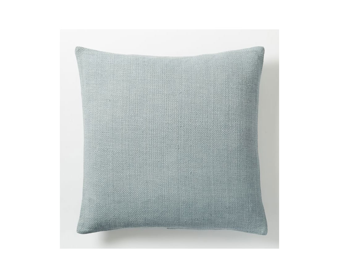 Blue silk throw pillow